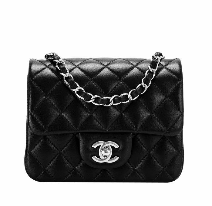 Chanel classic mini square flap bag black lambskin silver hardware ... 5cdffe5dc6e08