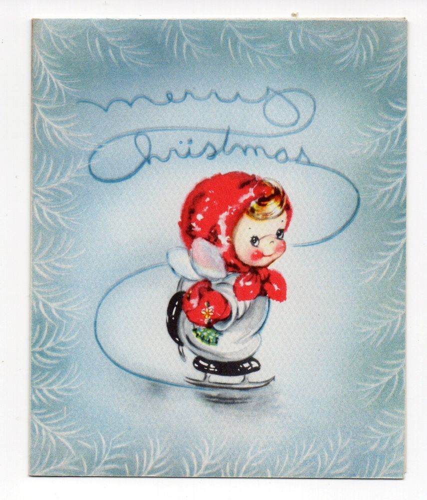 Vtg American Greetings Christmas Greeting Card Adorable Angel Girl