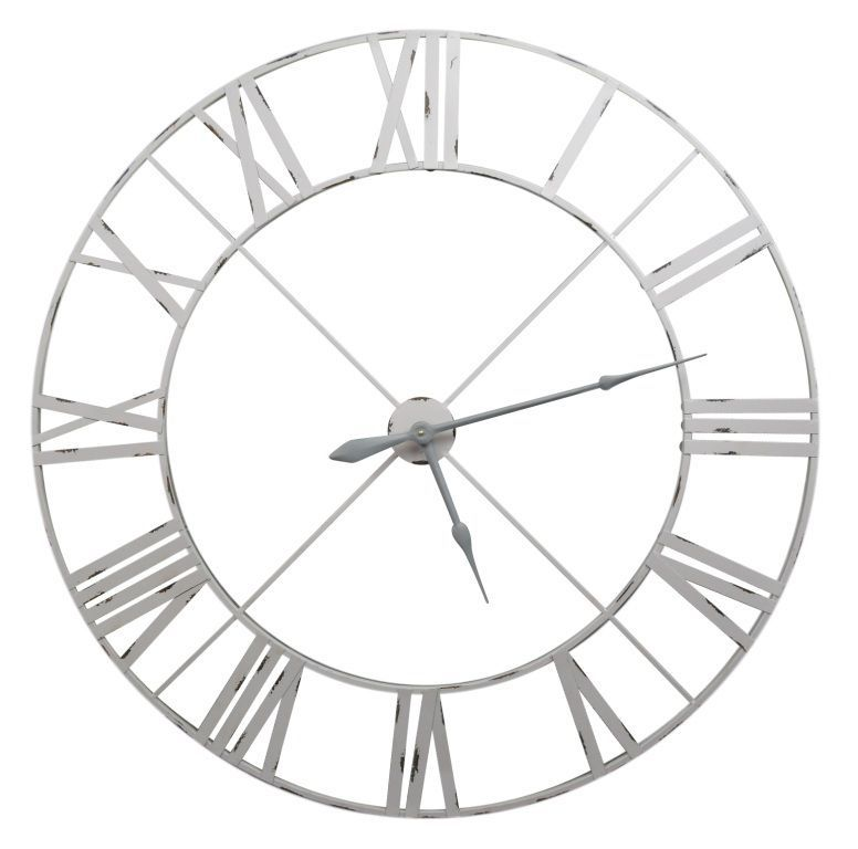 Extra Large 110cm Off White Pale Grey Metal Roman Numeral Wall Clock Limited Qty