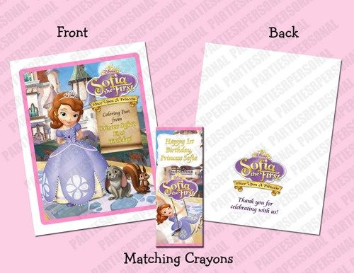 Sofia the First Personalized Coloring Book/Crayons Favor Set ...