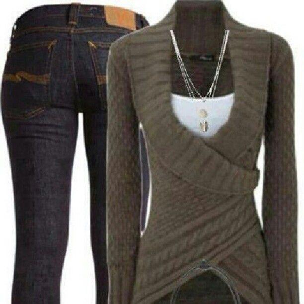 Dark green wrap around body sweater | Fashion | Pinterest | Green ...