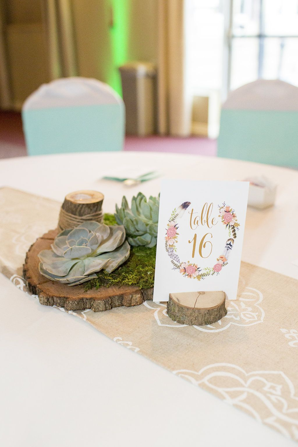 Wood slice w/ moss & succulents with wood table number holder and ...