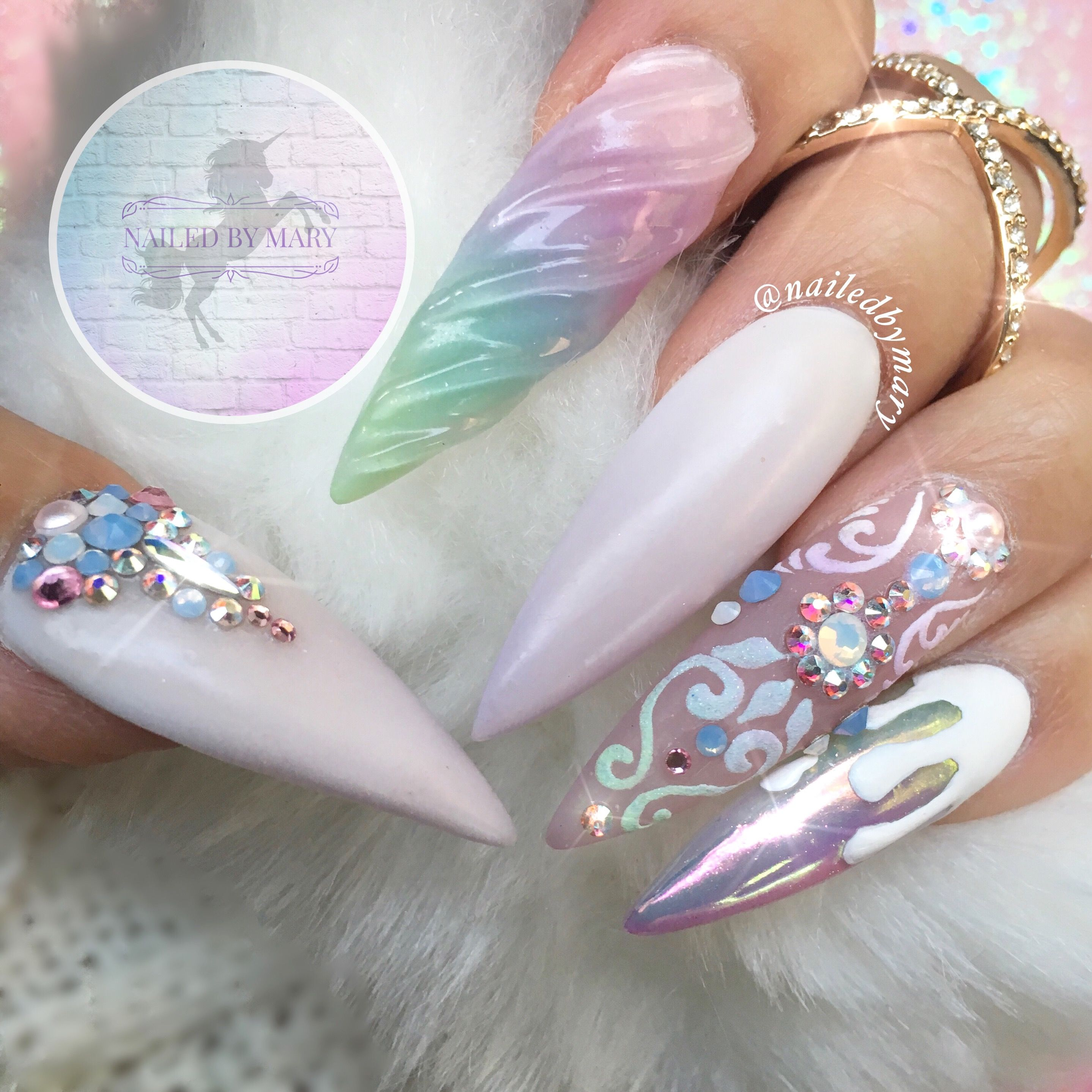 Unicorn long rainbow pastel white chrome nail art Kylie