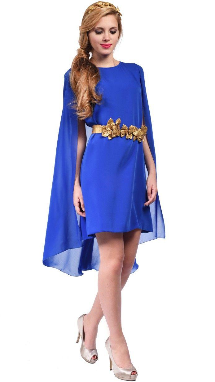 907e88623 DRESSEOS - Éste vestido corto con túnica en azul pavo es perfecto para una  boda de