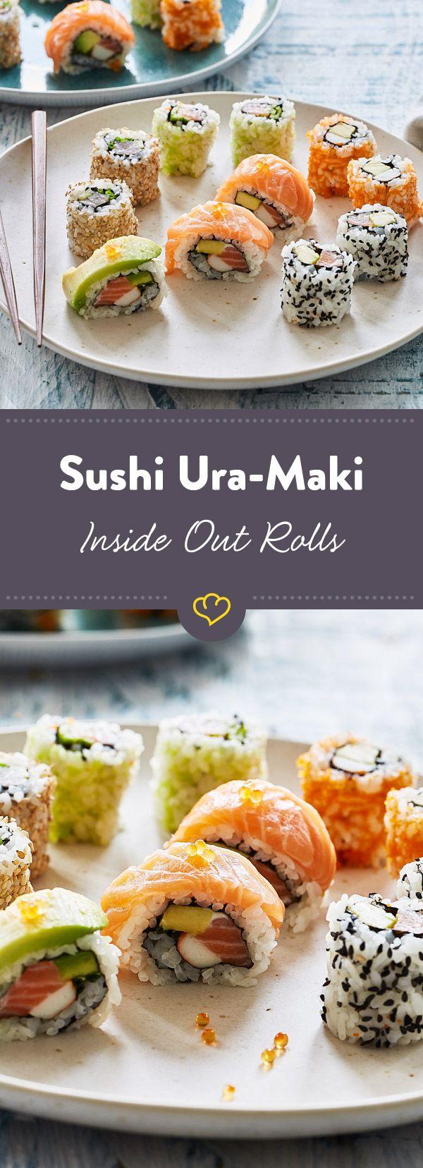 sushi uramaki inside out rezept. Black Bedroom Furniture Sets. Home Design Ideas