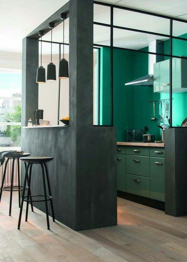 Le vert émeraude | Open kitchens, Kitchens and Exterior design