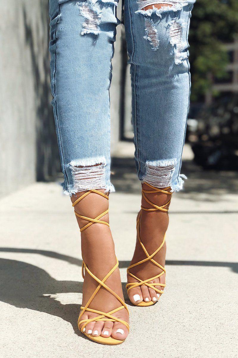 48934f1d4ff Wrap Her Up Heeled Sandal - Yellow Flip Flops