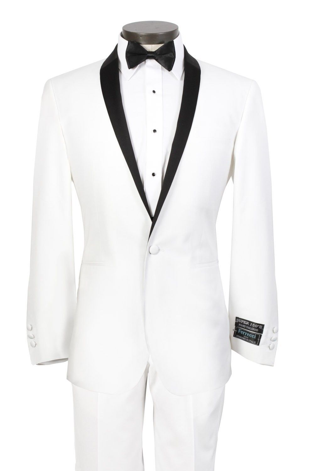 2013 Custom Made White Wedding Tuxedo For Men With Black Shawl Lapel And 1 Button Front