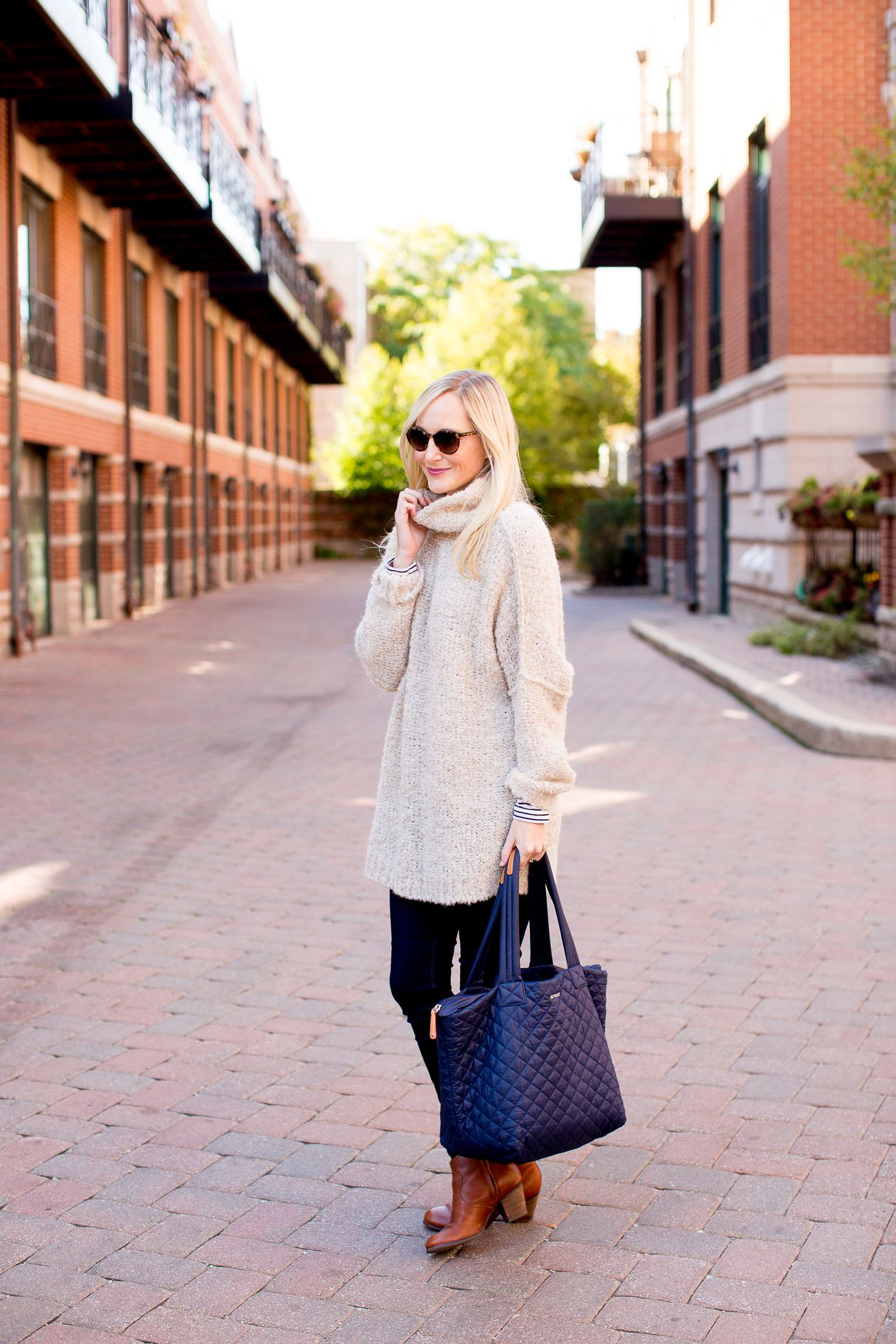 Free People Sweater / Hudson Jeans / Lands' End Booties / MZ Wallace Tote