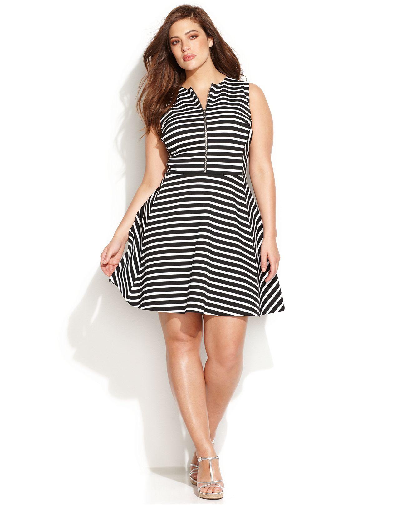 MICHAEL Michael Kors Plus Size Sleeveless Striped A-Line ...