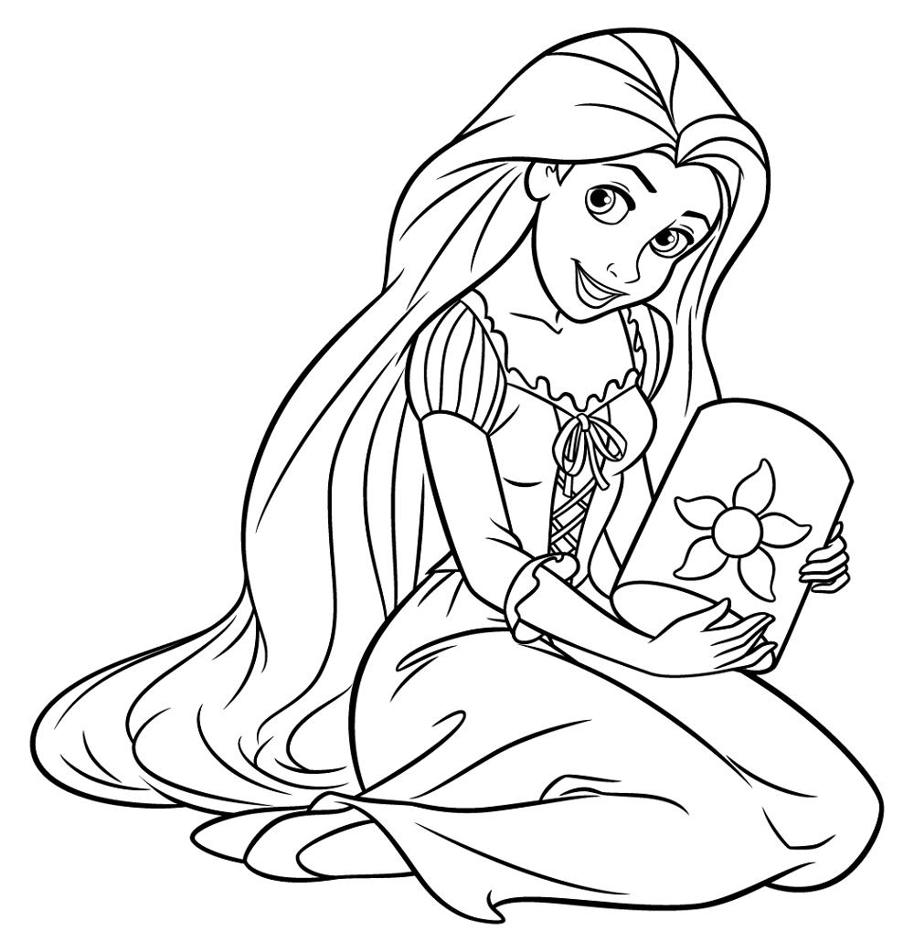 Rapunzel Color Pages Cute Disney princess coloring pages