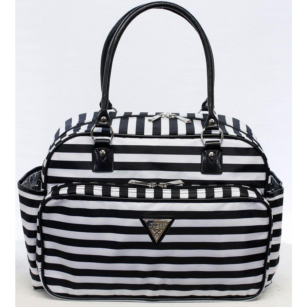 Guess Fashion Satchel Diaper Bag Black White Stripes Signal Products Babies R Us