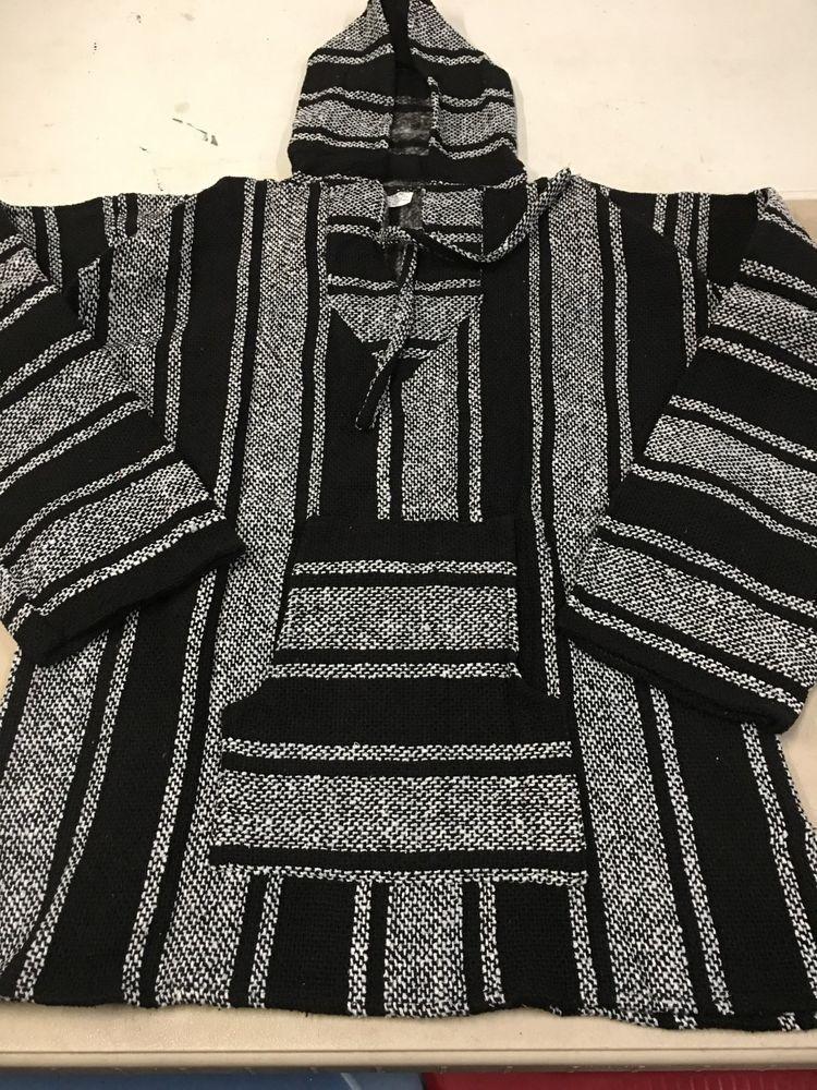 8cc8d9b02 XL Baja Hoodie White & Black Pullover Poncho Mexican Drug Rug Sweatshirt  Jerga #fashion #clothing #shoes #accessories #unisexclothingshoesaccs ...