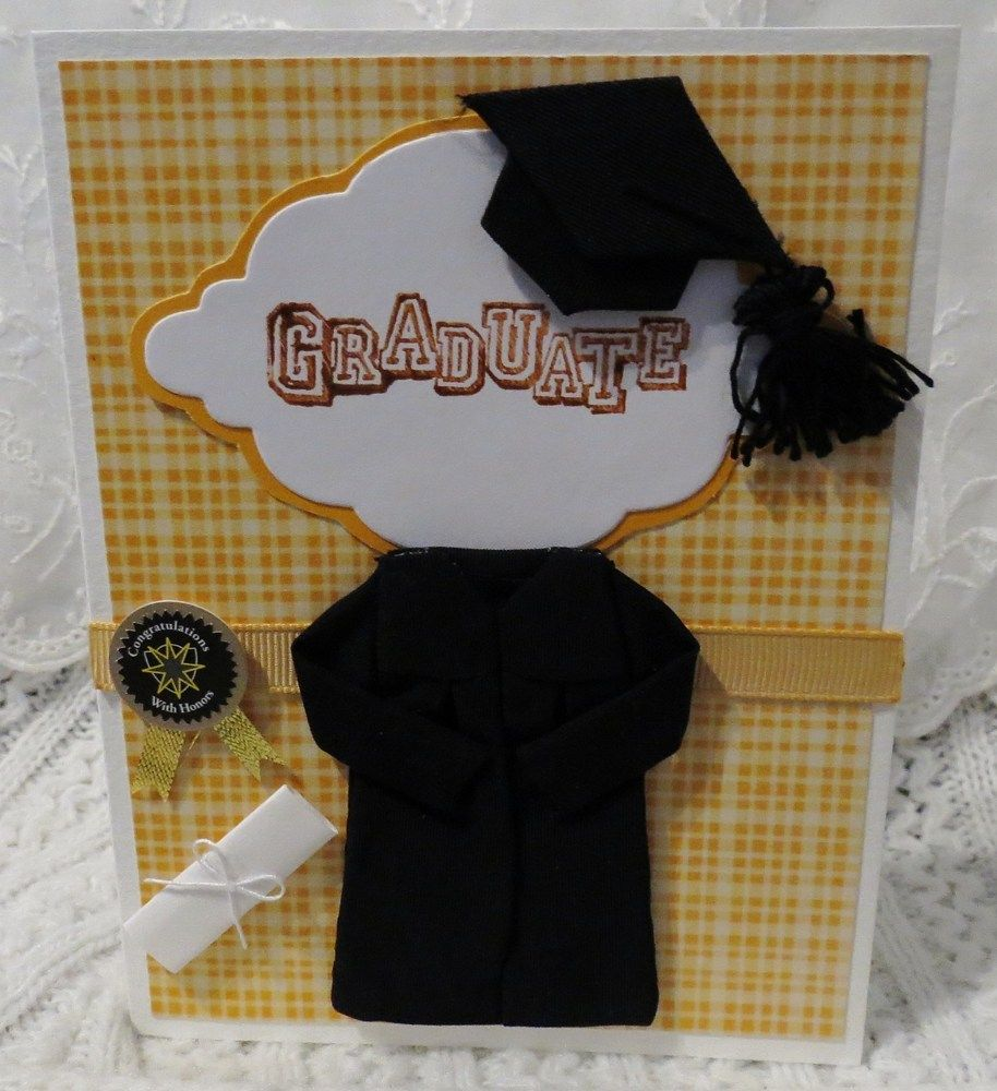 Handmade Graduation Card Yellow Plaid with Cap and Gown | luvncrafts - Cards on ArtFire