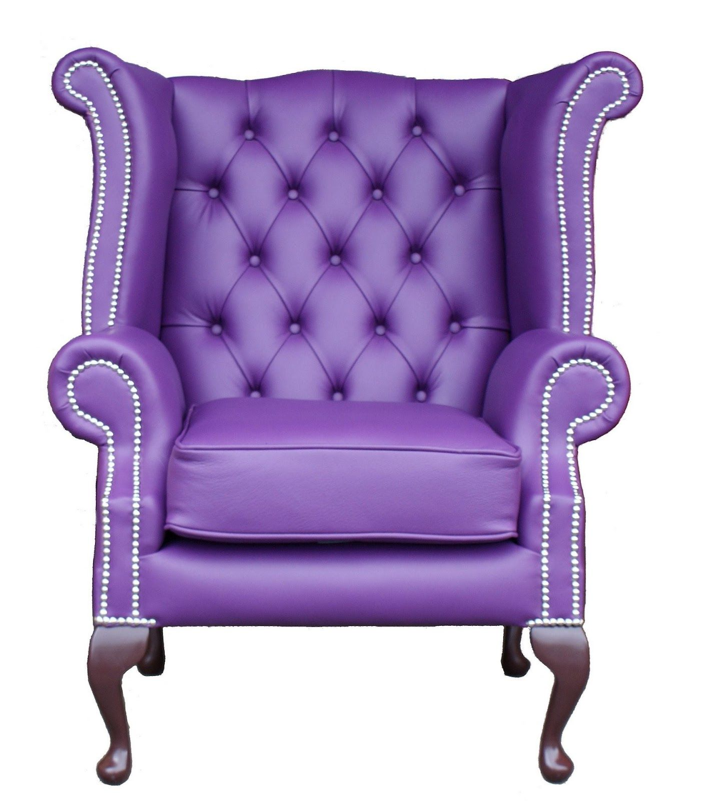 Chesterfield Queen Anne High Back Wing Purple Chair