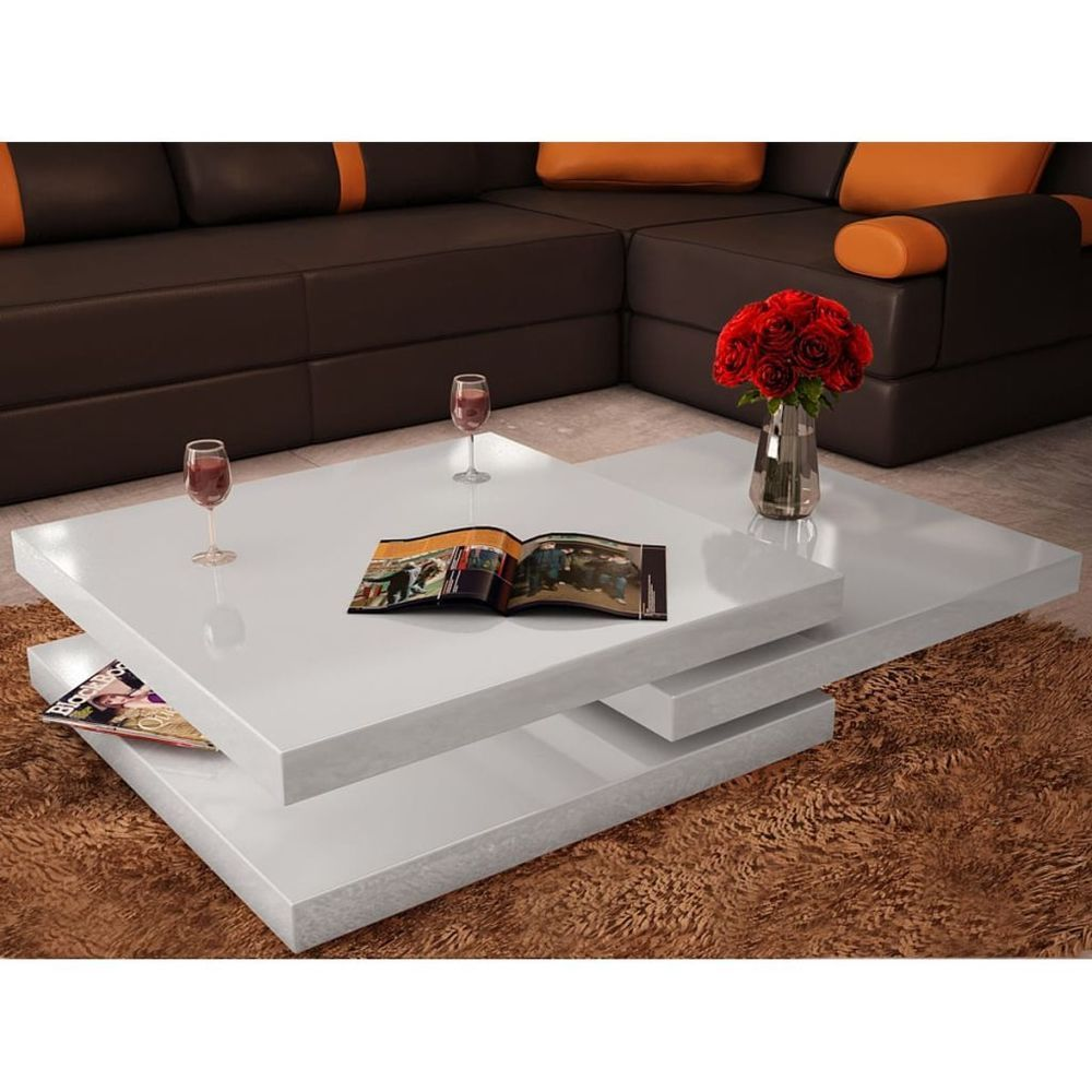 Vidaxl Mesa De Centro Con 3 Capas Color Blanco De Alto Brillo White Dining Room Furniture Simple Coffee Table Coffee Table White [ 1000 x 1000 Pixel ]