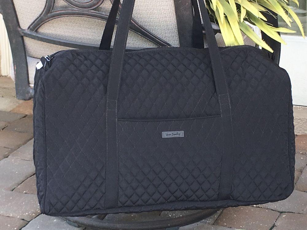 VERA BRADLEY LARGE DUFFEL CLASSIC BLACK FOLDABLE TRAVEL BAG OVERNIGHT TOTE   108 0e55a1f1e0a5b