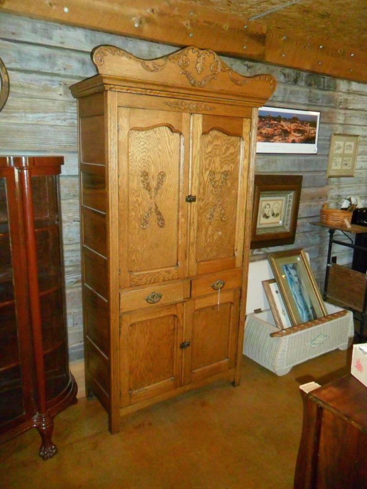 Antique Oak Jelly Cupboard Cabinet Pie Safe Wood Folk Art ...
