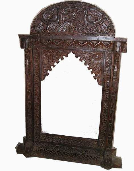 Teak Wood Maharaja Wall Mirror In Walnut Brown Indian Inspired