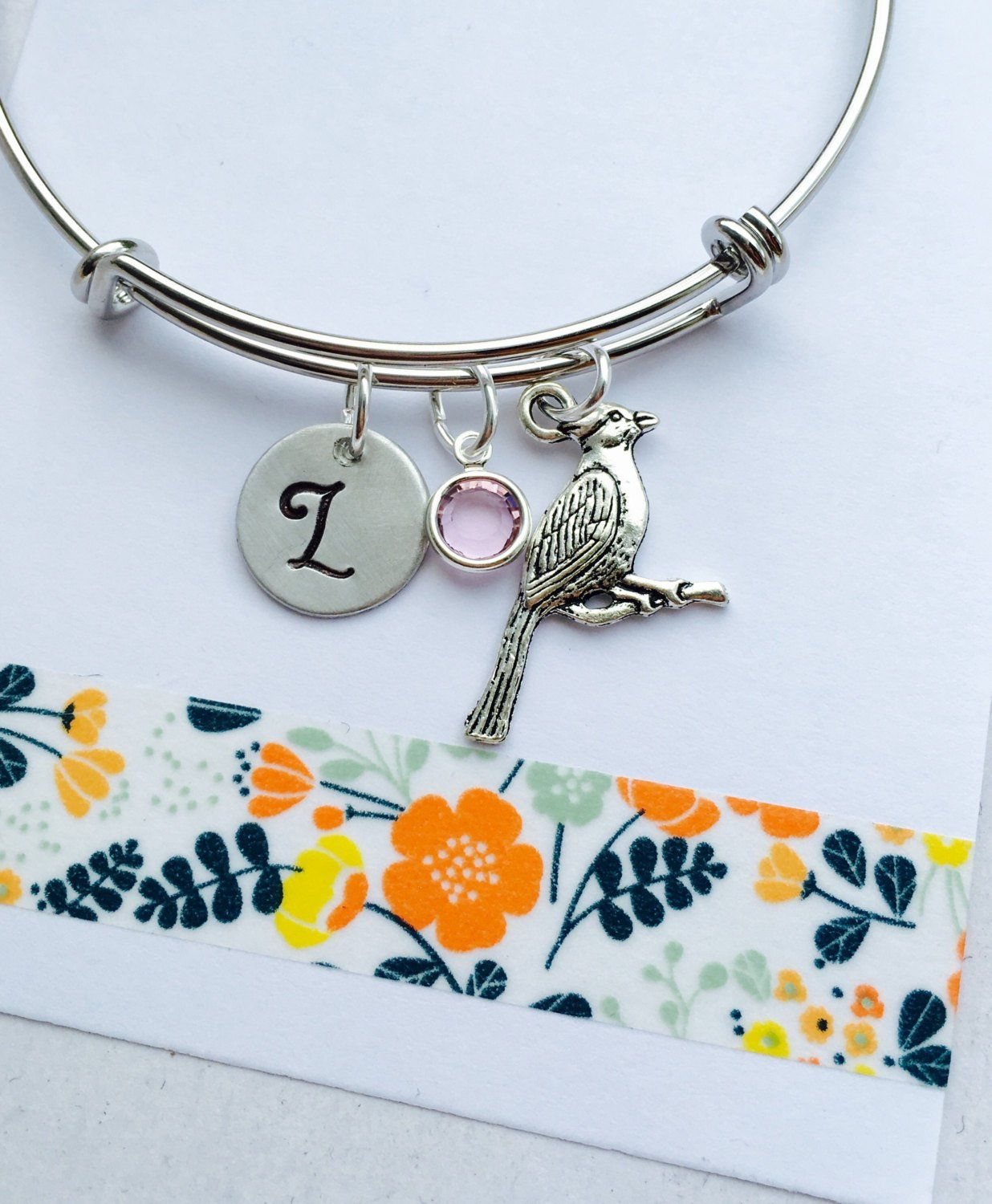 Cardinal Bracelet Charm Bangle Adjule Personalized Initial Monogram
