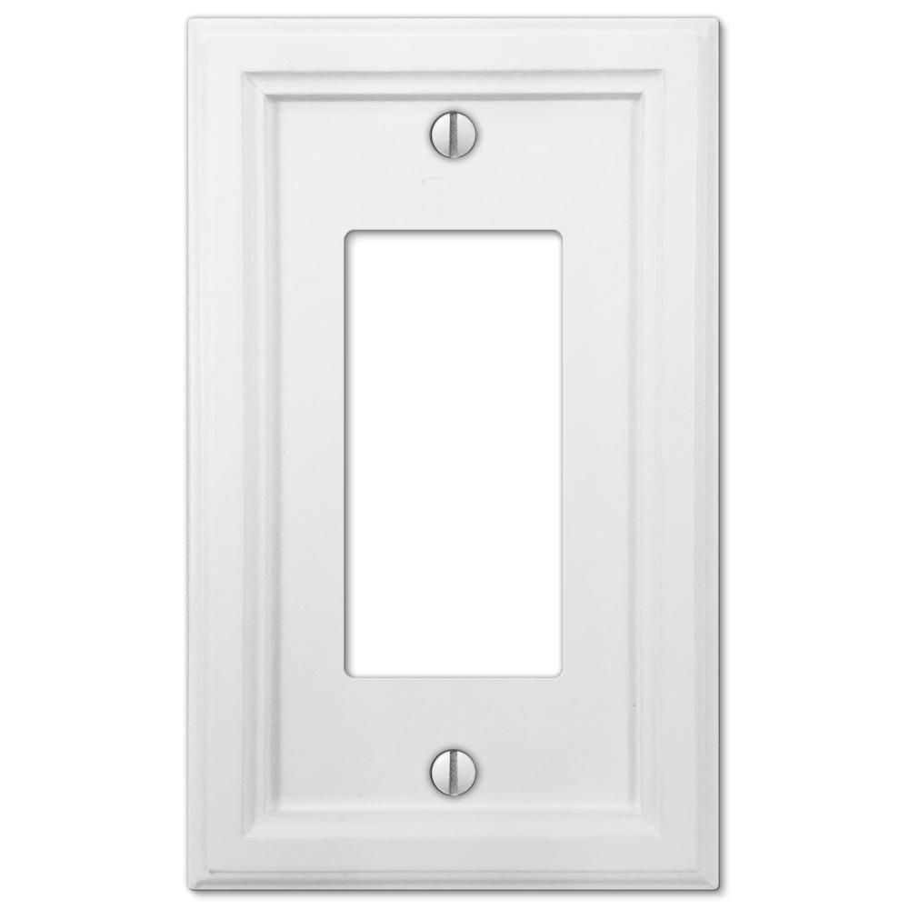 Amerelle Elly 1 Gang Rocker Composite Wall Plate White 4052rw The Home Depot Plates On Wall Electrical Box Cover Stylish Decor
