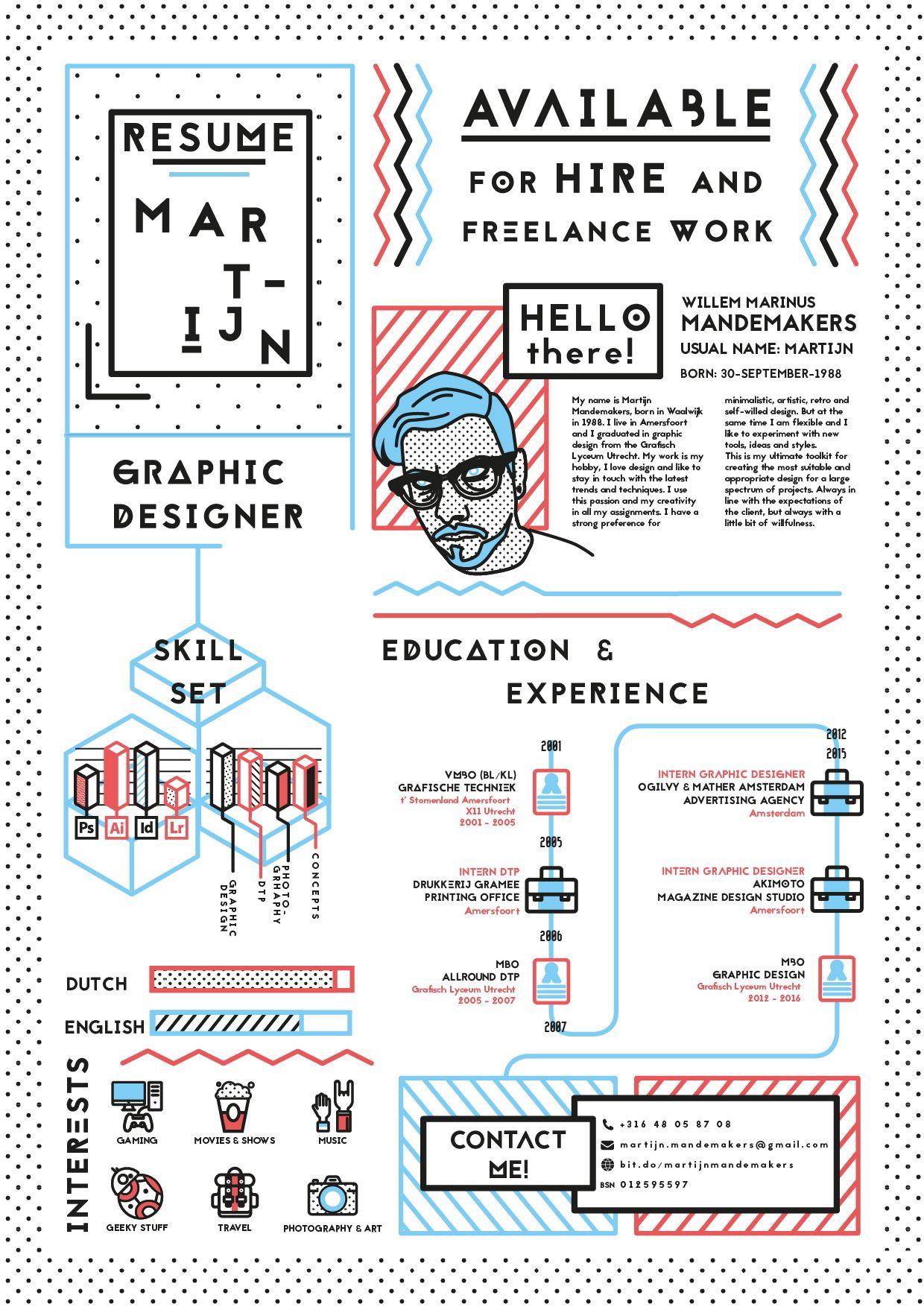Resume Graphic Designer Martijn Mandemakers Creatieve Cv Infographic Cv Creatief Cv