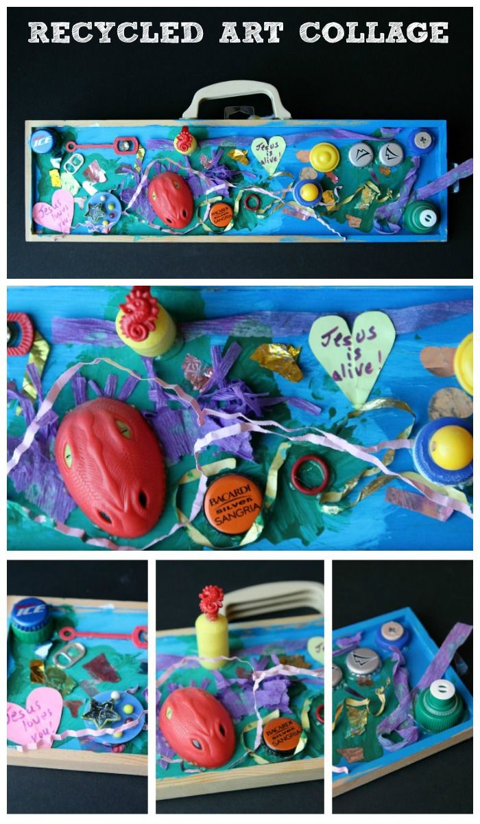 earth day craft project found things collage recycled art