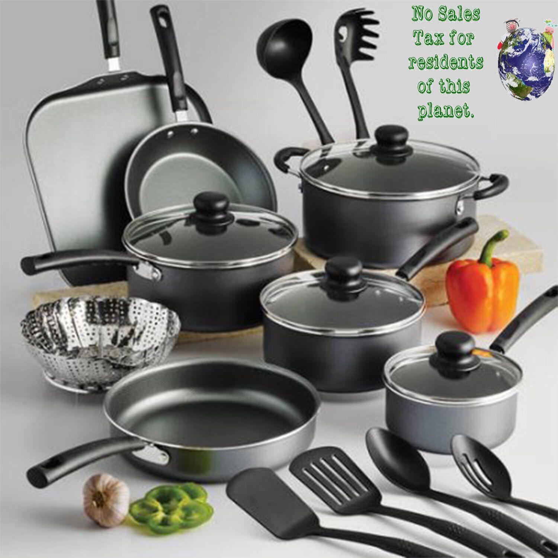 Details About 18 Piece Nonstick Cookware Set Pans Pots Spoons