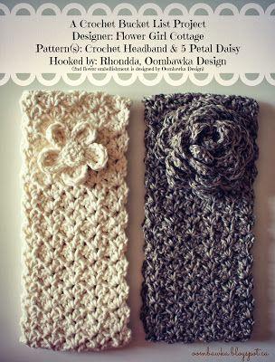 Crochet Headband and 5 Petal Daisy   Häkeln, Diy häkeln und Handarbeiten