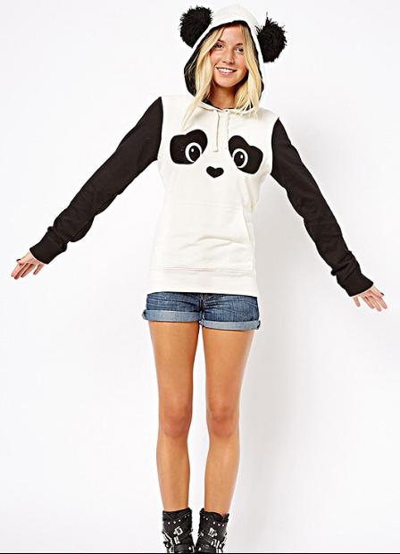 Panda Print Contrast Color Hooded Cute Sweatshirt Panda Hoodie Cute Sweatshirts Tracksuit Women