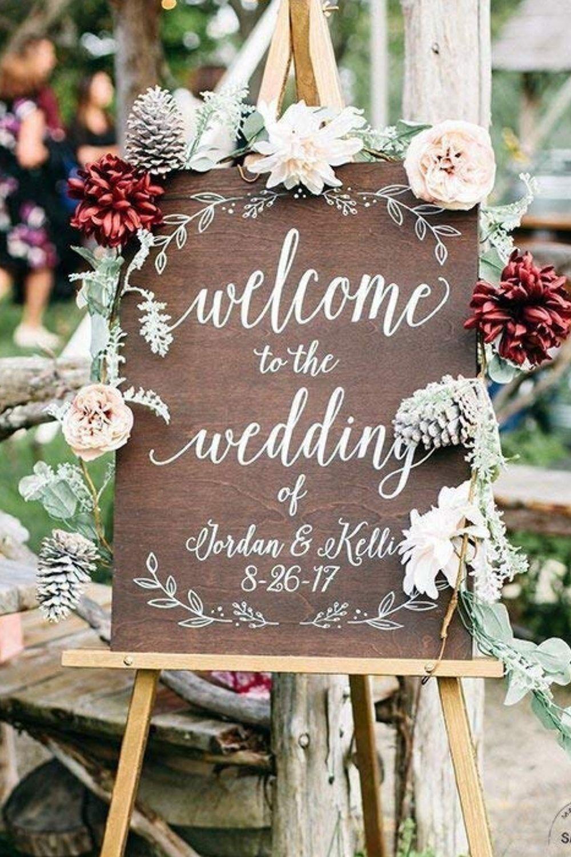 Wooden Wedding Welcome Sign Custom Personalized Wedding Decor Oak Stain Wood Sign Wedding Rece In 2020 Floral Wedding Sign Wood Wedding Signs Wedding Photo Display