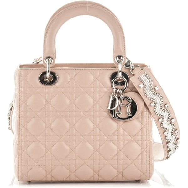 CHRISTIAN DIOR Lambskin Cannage Medium Lady Dior Beige ❤ liked on Polyvore featuring bags, handbags, quilted purses, zip tote bag, pink tote bags, pink tote and beige handbags