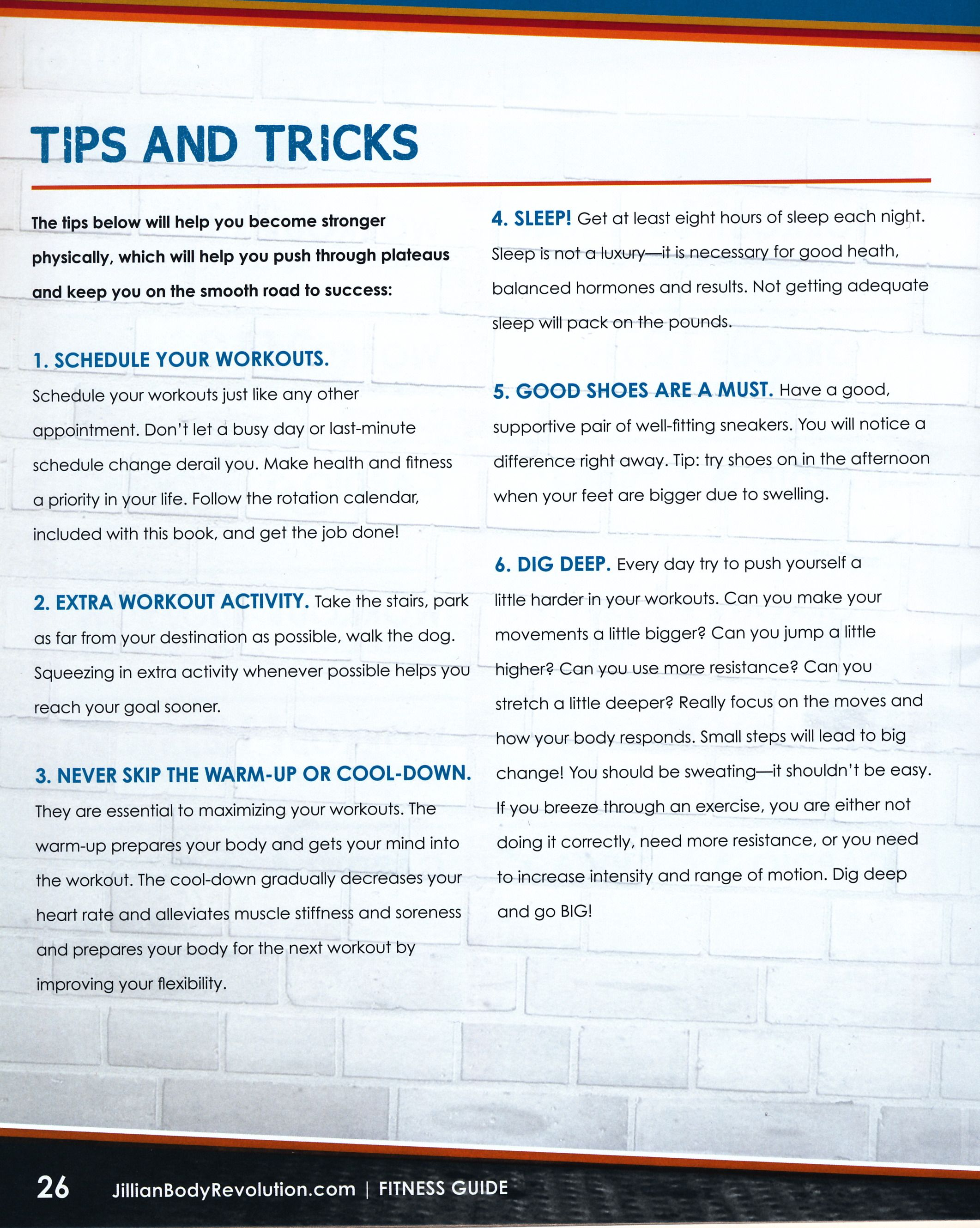 tips & tricks: jillian michaels body revolution fitness guide pg.1
