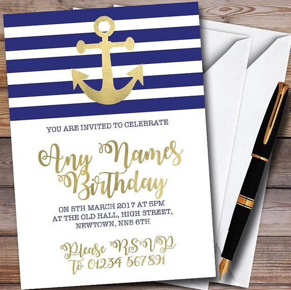Gold blue white nautical anchor personalised childrens party these invites can be printed posted to you or we will provide you with a solutioingenieria Choice Image