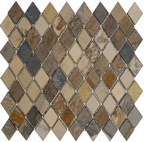 Epoch Tile Fall Tumbled Slate Mosaic Floor Or Wall Tile 1 X 2 Diamond At Menards Wall Tiles Diamond Mosaic Patterned Bathroom Tiles