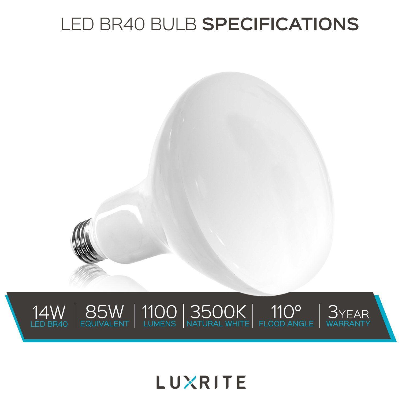 Luxrite Br40 Led Light Bulbs 85w Equivalent 3500k Natural White Dimmable 1100 Lumens Led Flood Light Bulb 14w E26 M Led Flood Lights Led Light Bulbs Light Bulb