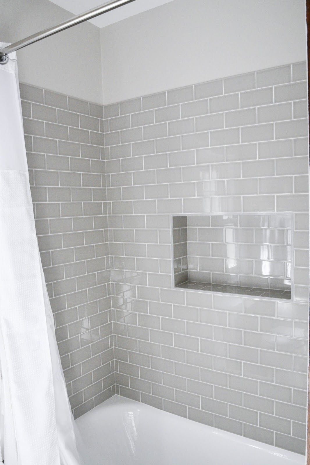 Modern Traditional Bath Gray Subway Tiles Shower Niche Desgin Interiors Interiordesign Homewithkeki