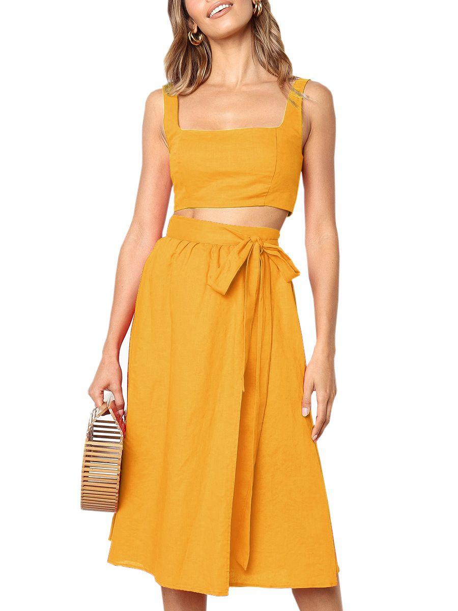 Sysea Womens Summer Two Piece Outfits Sleeveless Dress Walmart Com Womens Boho Dresses Dress Clothes For Women Fashion Dress Party [ 1200 x 900 Pixel ]