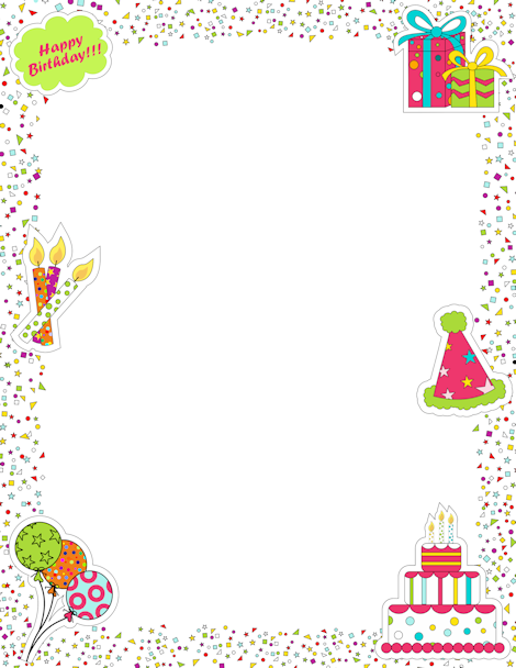 Printable page border featuring birthday graphics like ...