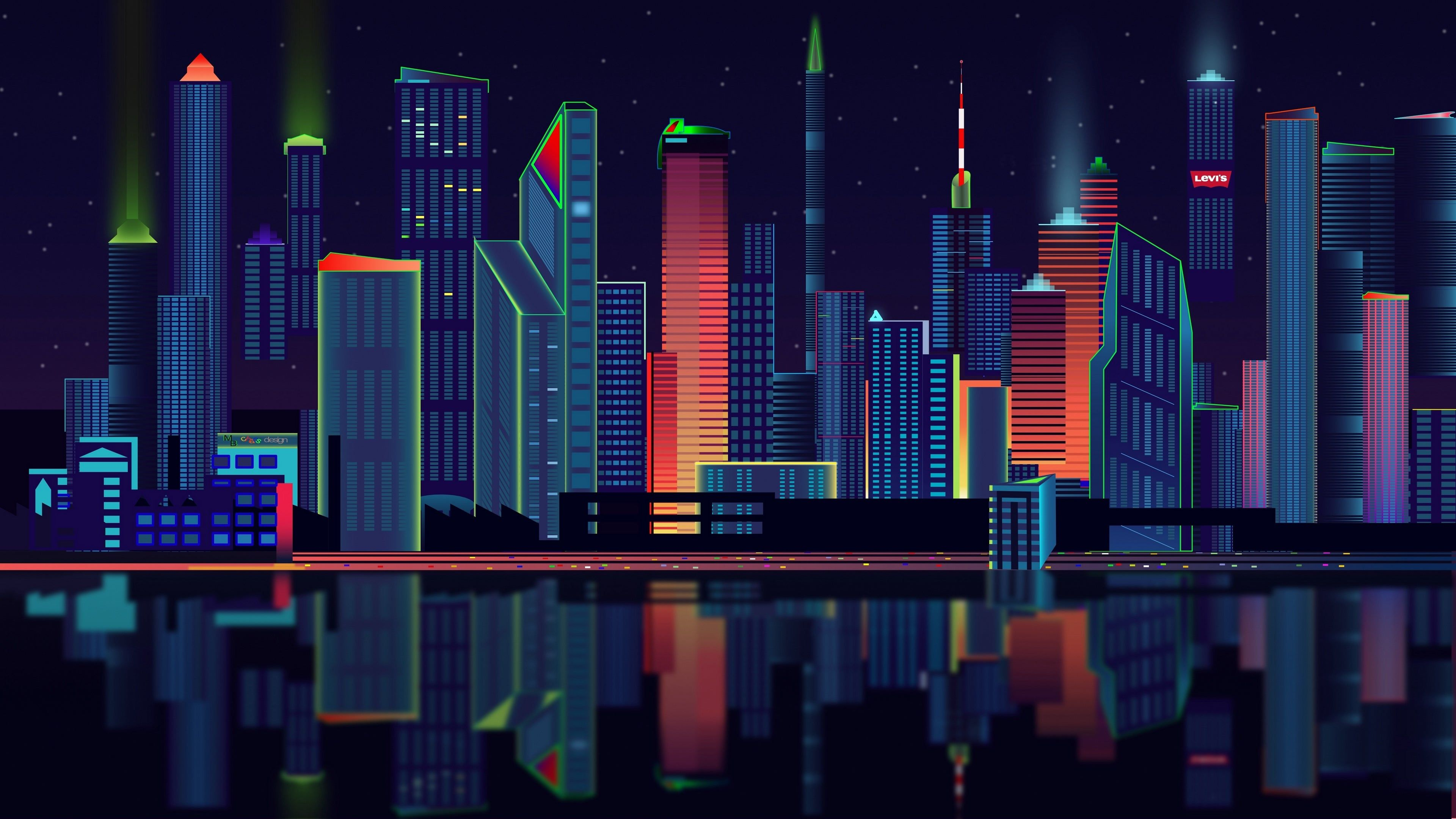 2d City Vector Panorama Wallpaper Desain