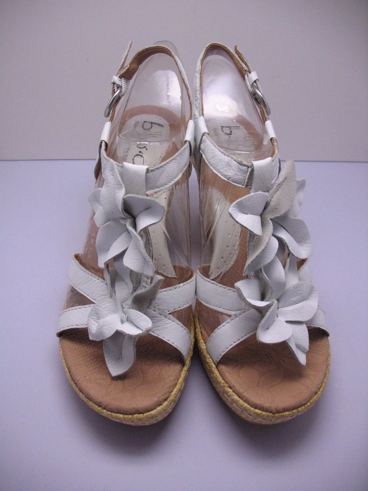 cd41b22ced B.O.C. Born Sandal Wedge Edith 7 M Flower T Strap Shoes White NEW Leather  #BOCBorn #PlatformsWedges