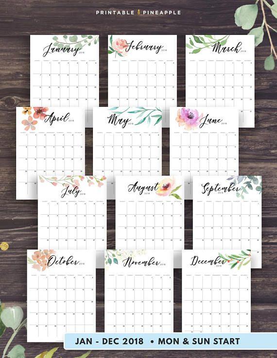 Secret Garden: 2019-2020 Desk Calendar Printable, Watercolor Botanical