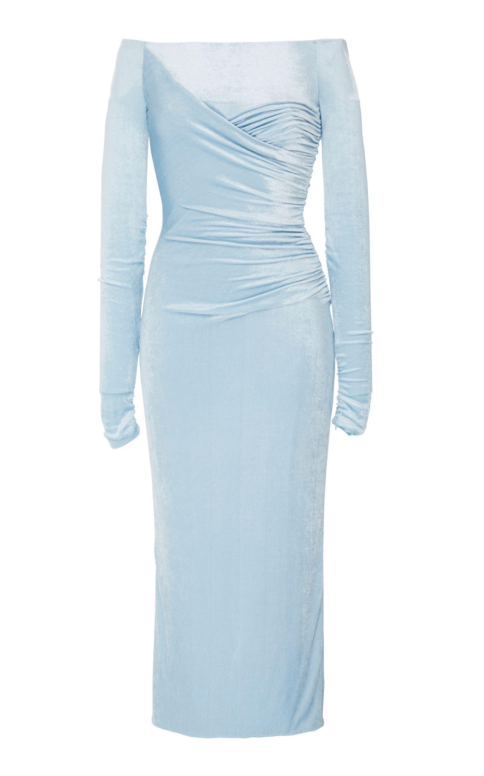 Versace baby blue velvet midi dress SS18 Designer