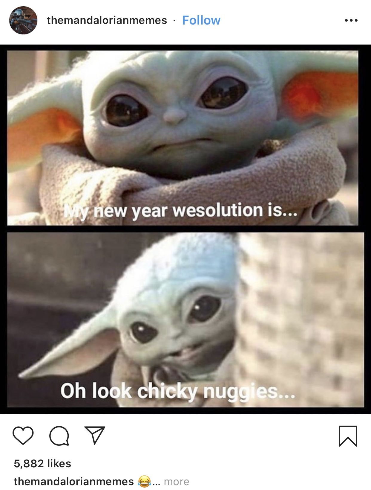 Baby yoda makes New Years resolution in 2020 Funny