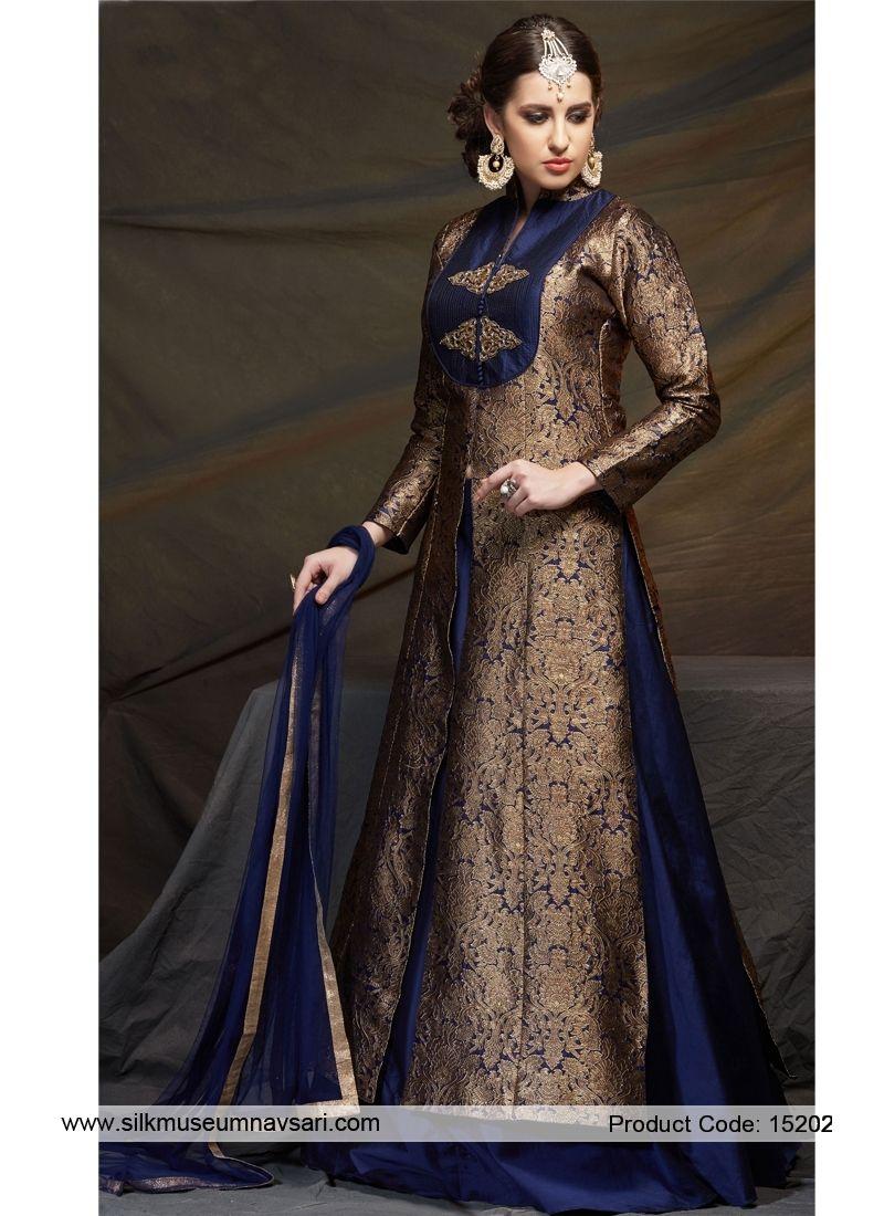Oppulent navy blue banarasi silk indo western indowestern my