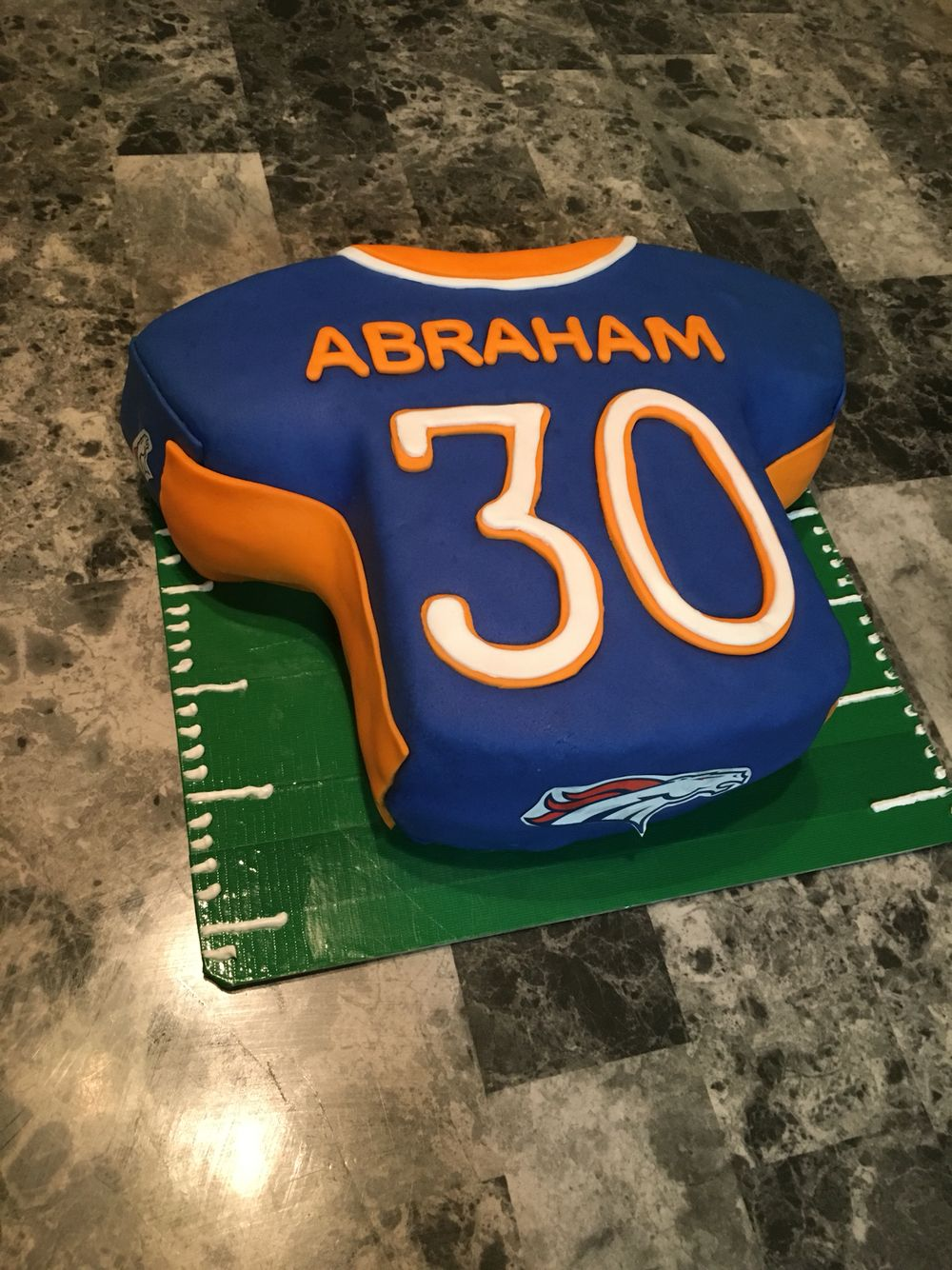 Denver Broncos Jersey 30th Birthday Fondant Cake Football 30 Cakes