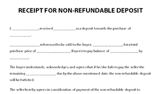 Receipt For Non Refundable Deposit Receipt Template Receipt Template Deposit Receipt