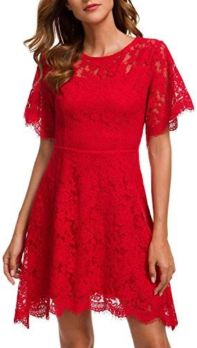 New MSLG Women's Elegant Round Neck Short Sleeves Wedding Guest Floral Lace Cocktail Party Dress 943 online shopping - Newclothingtrendy #cocktailpartydresses