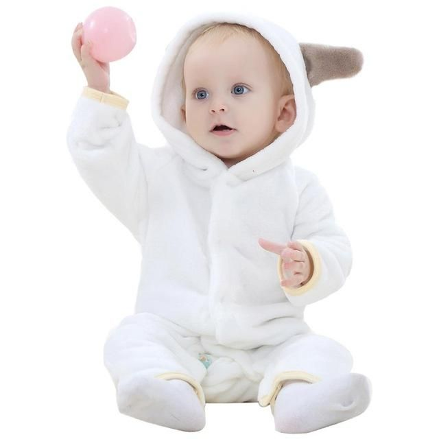 64ece6f11 Baby Rompers Warm Long Sleeve Bear style Baby Autumn Coral Fleece ...