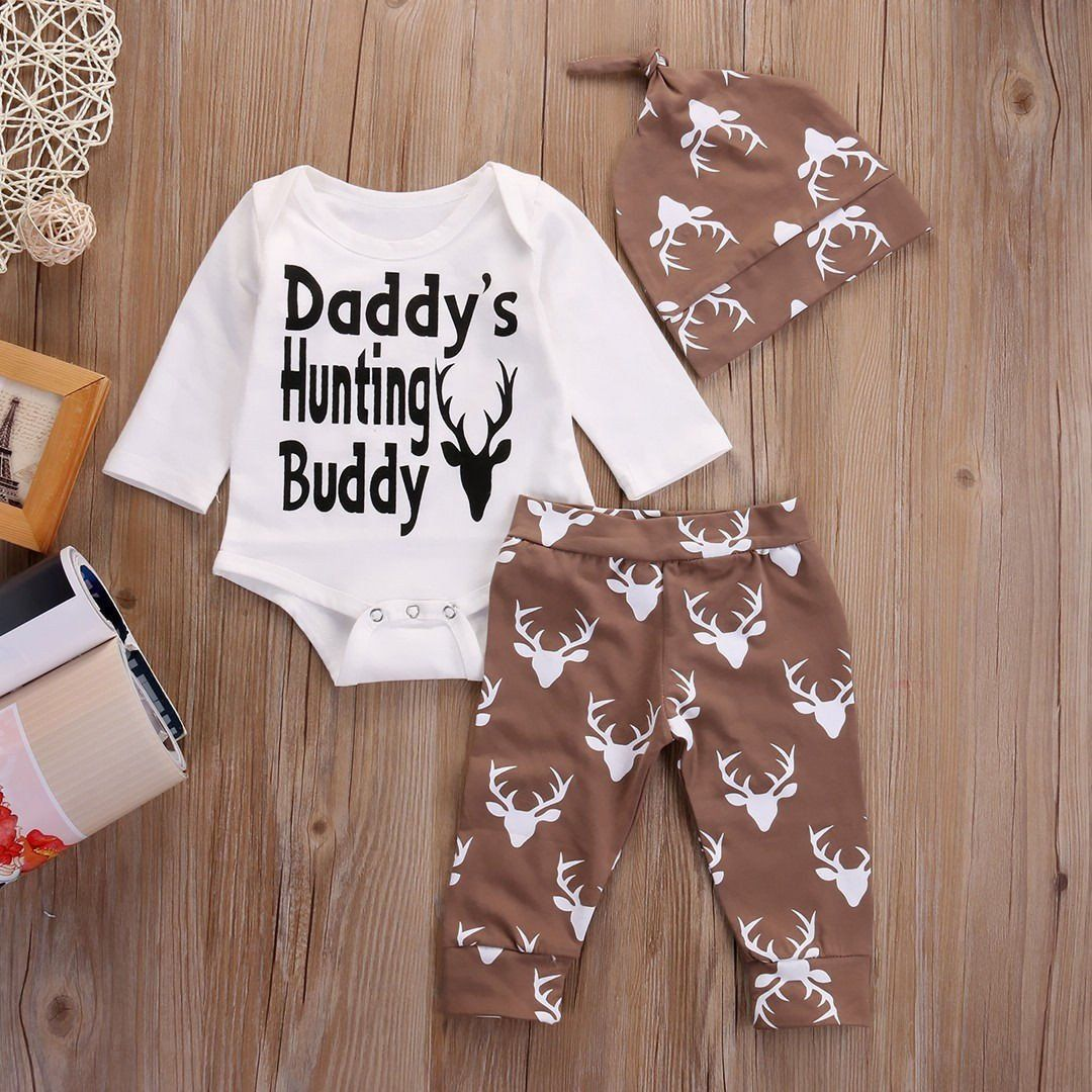 cb102fcfc 3 Piece 'Daddy's Hunting Buddy' Outfit   Baby Outfit Sets   Baby boy ...